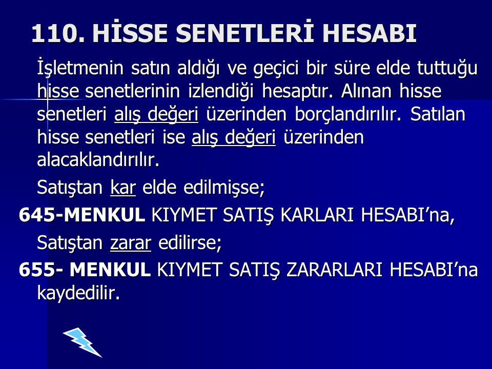 110. HİSSE SENETLERİ HESABI