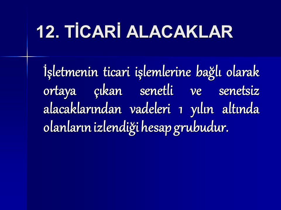 12. TİCARİ ALACAKLAR