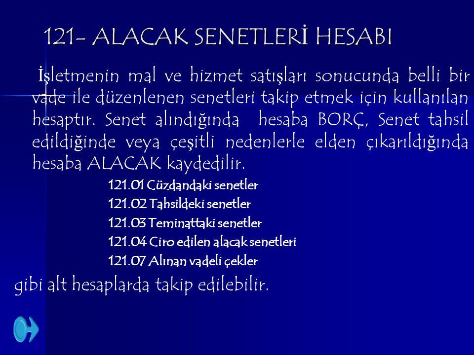 121- ALACAK SENETLERİ HESABI