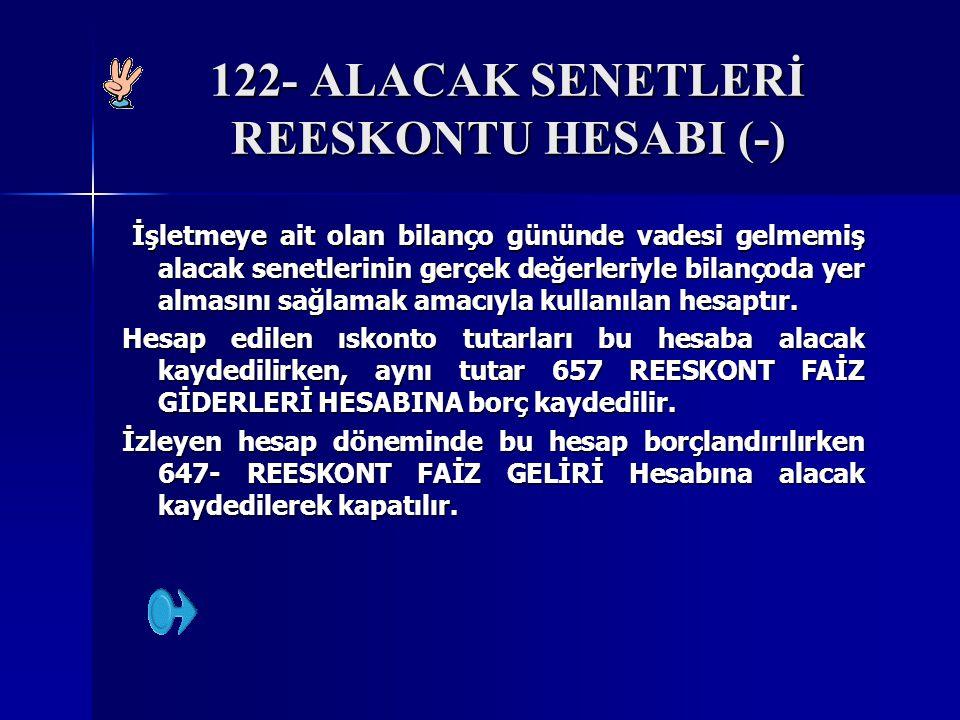 122- ALACAK SENETLERİ REESKONTU HESABI (-)