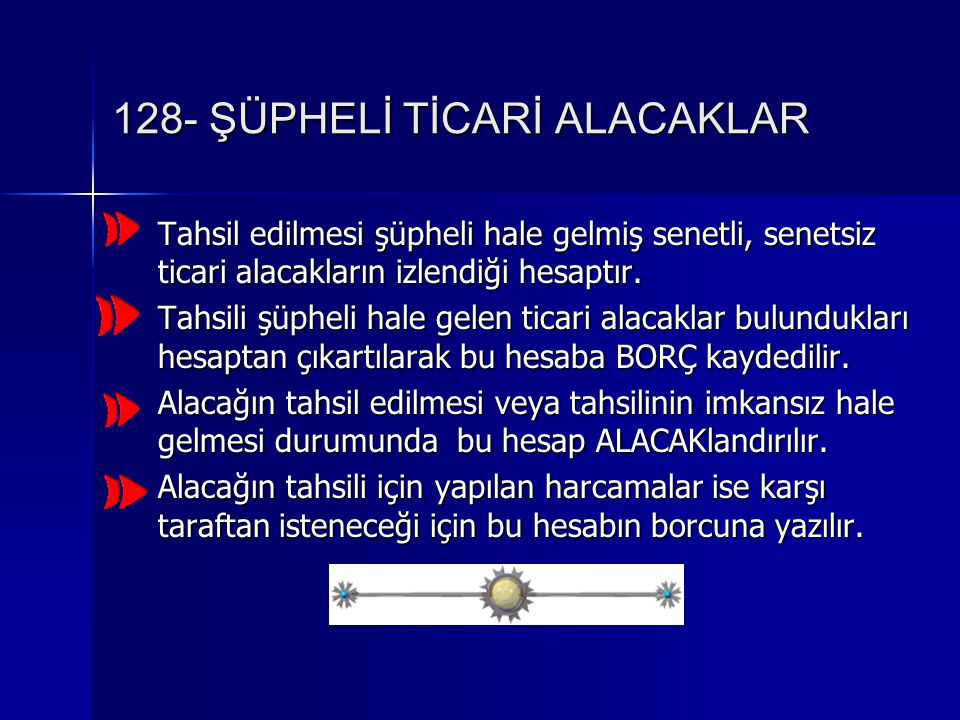128- ŞÜPHELİ TİCARİ ALACAKLAR