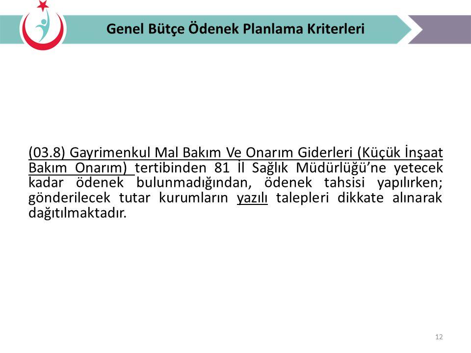 Genel Bütçe Ödenek Planlama Kriterleri