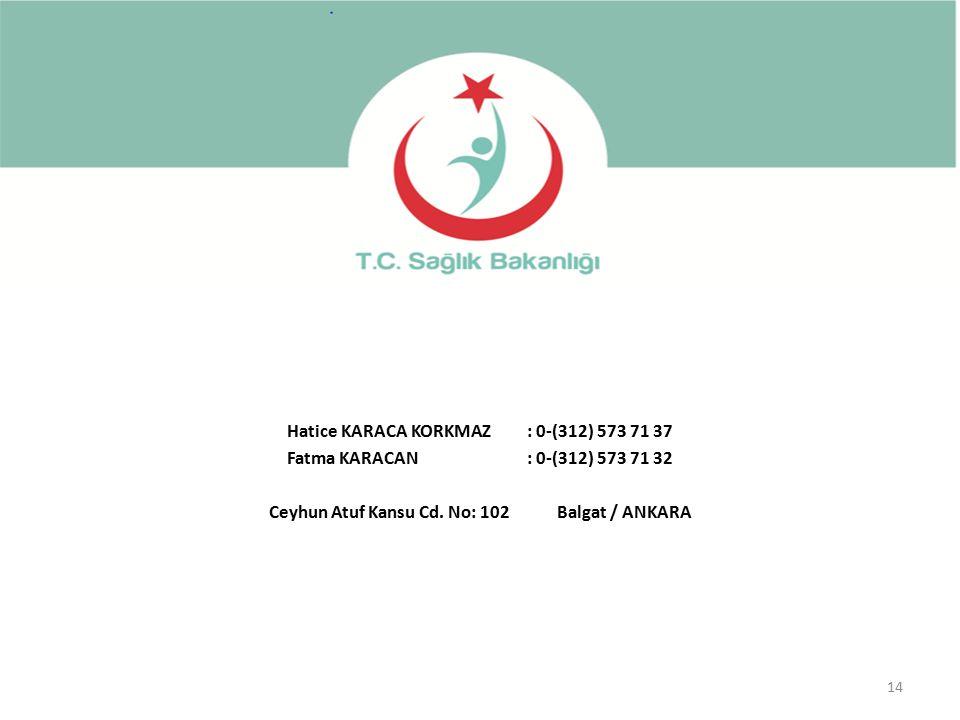 Hatice KARACA KORKMAZ : 0-(312) 573 71 37 Fatma KARACAN : 0-(312) 573 71 32 Ceyhun Atuf Kansu Cd.