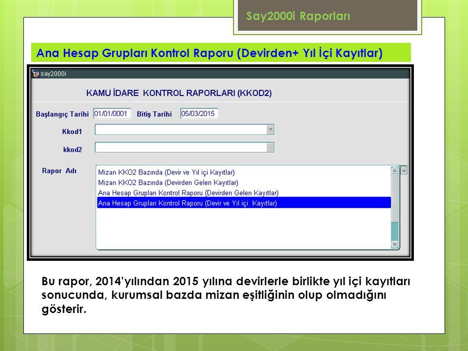 Say2000i Raporları Ana Hesap Grupları Kontrol Raporu (Devirden+ Yıl İçi Kayıtlar)