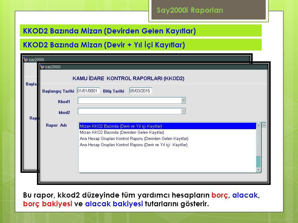 Say2000i Raporları KKOD2 Bazında Mizan (Devirden Gelen Kayıtlar) KKOD2 Bazında Mizan (Devir + Yıl İçi Kayıtlar)