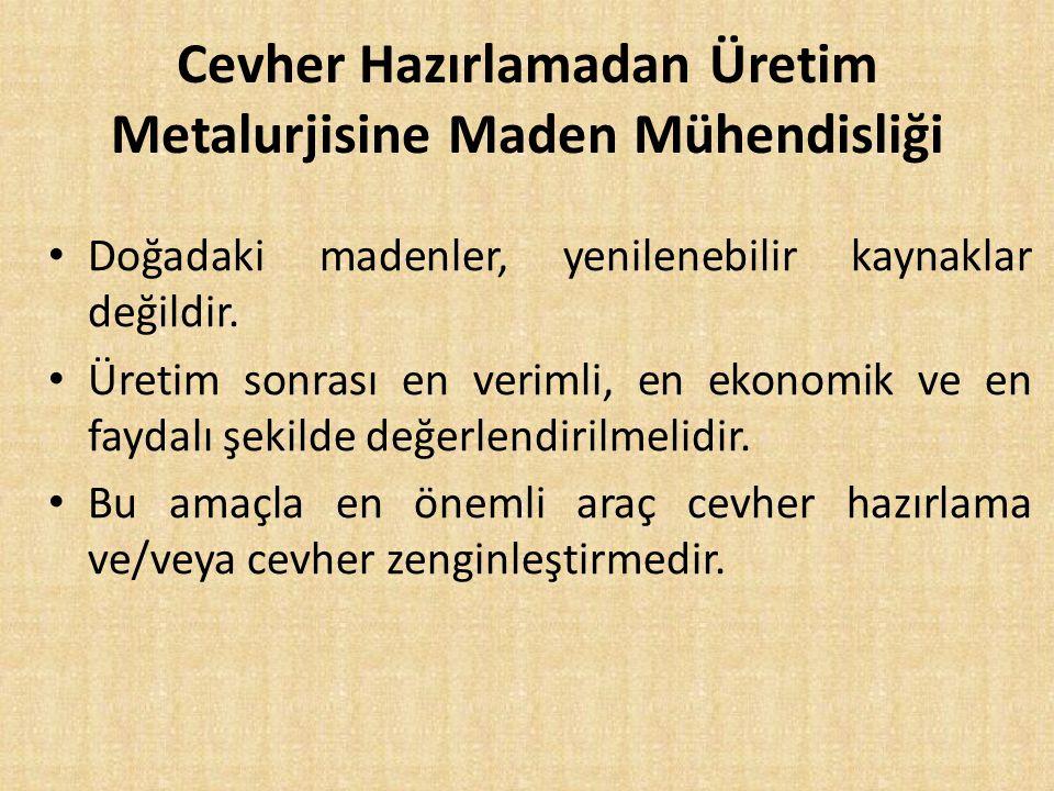 Cevher Hazırlamadan Üretim Metalurjisine Maden Mühendisliği