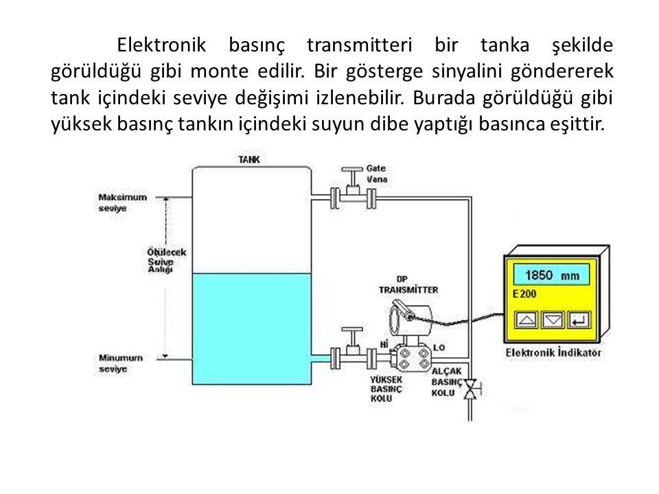 Elektronik basınç transmitteri bir tanka şekilde görüldüğü gibi monte edilir.
