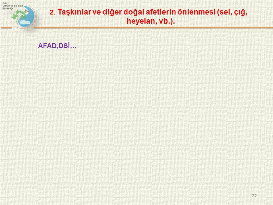 2. Taşkınlar ve diğer doğal afetlerin önlenmesi (sel, çığ, heyelan, vb