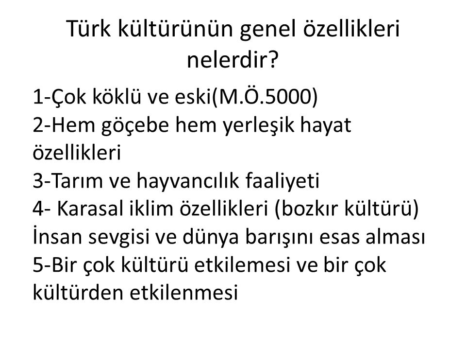 Türk kültürünün genel özellikleri nelerdir