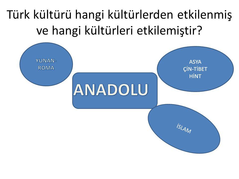 Türk kültürü hangi kültürlerden etkilenmiş ve hangi kültürleri etkilemiştir
