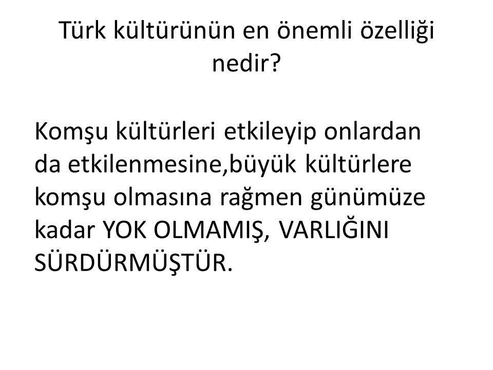 Türk kültürünün en önemli özelliği nedir