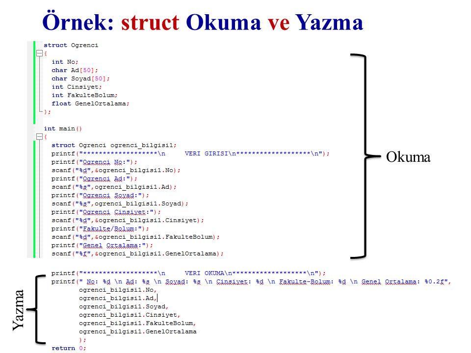 Örnek: struct Okuma ve Yazma