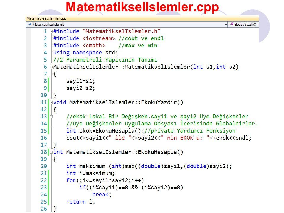MatematikselIslemler.cpp #include MatematikselIslemler.h