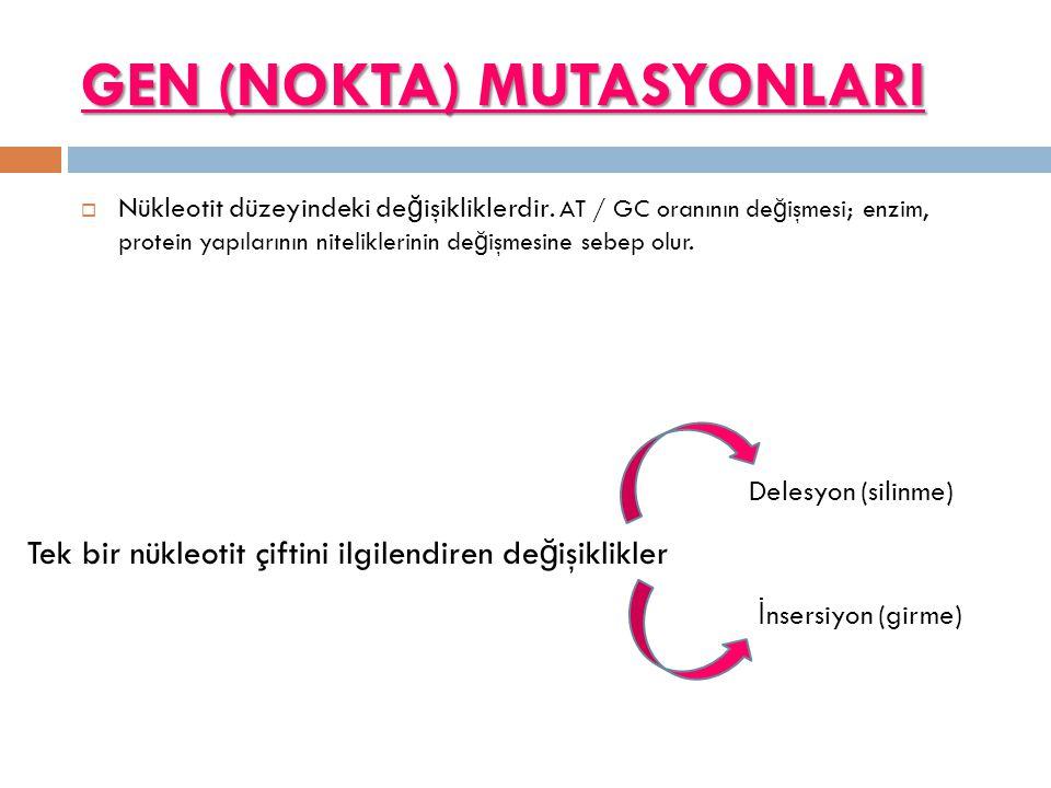 GEN (NOKTA) MUTASYONLARI
