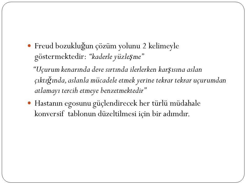 Freud bozukluğun çözüm yolunu 2 kelimeyle göstermektedir: ''kaderle yüzleşme''