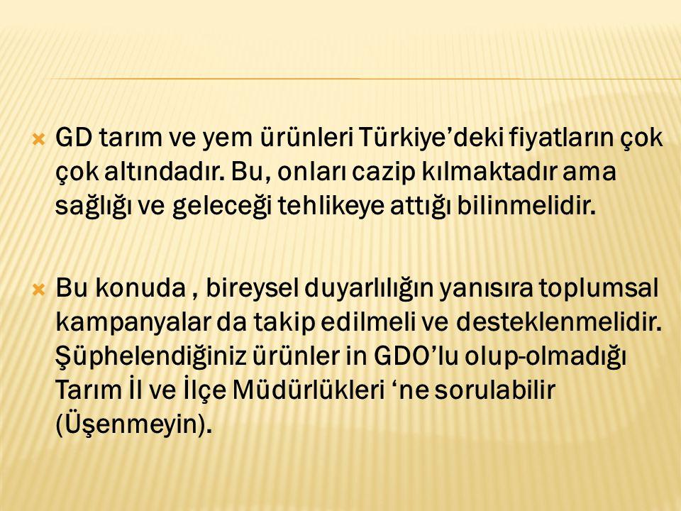 GD tarım ve yem ürünleri Türkiye'deki fiyatların çok çok altındadır
