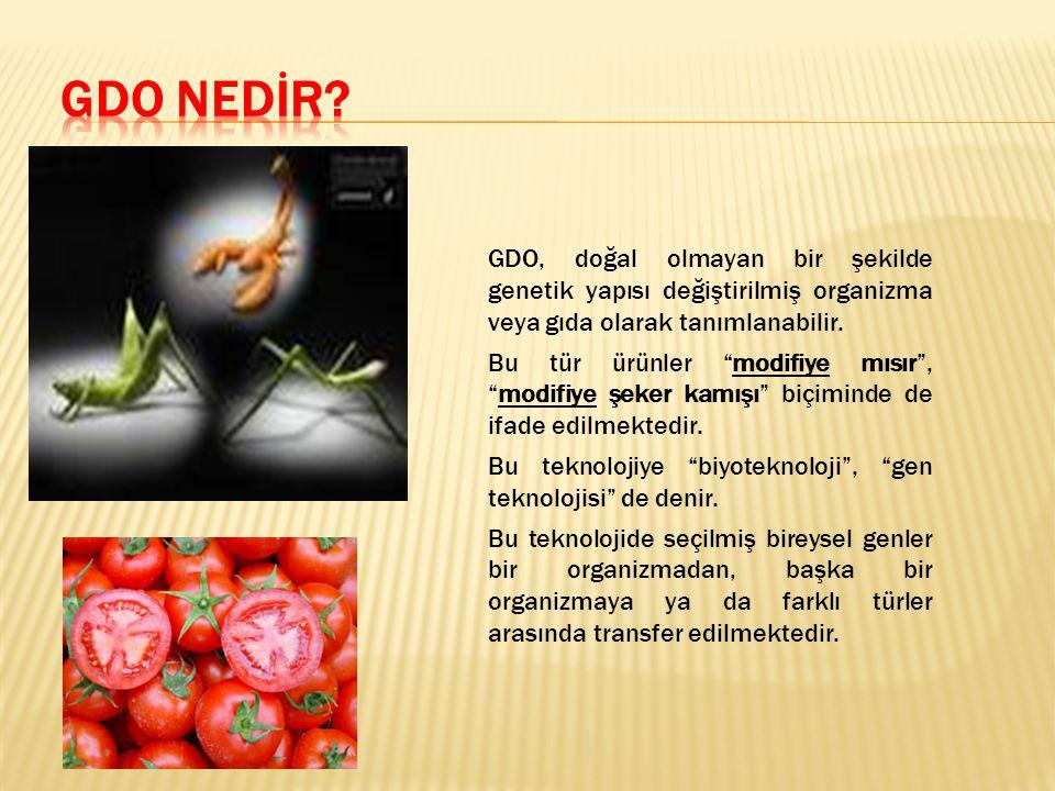 GDO NEDİR GDO, doğal olmayan bir şekilde genetik yapısı değiştirilmiş organizma veya gıda olarak tanımlanabilir.