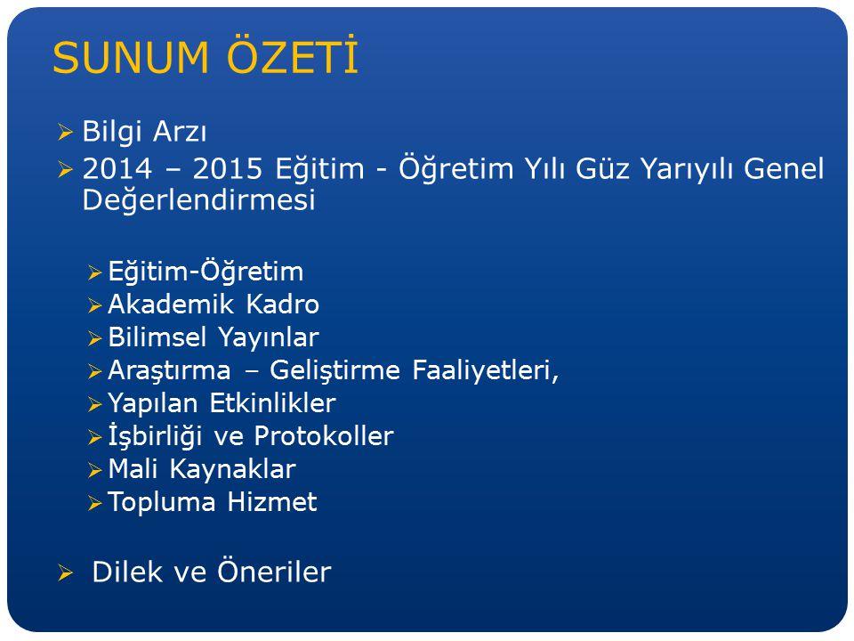 SUNUM ÖZETİ Bilgi Arzı. 2014 – 2015 Eğitim - Öğretim Yılı Güz Yarıyılı Genel Değerlendirmesi. Eğitim-Öğretim.