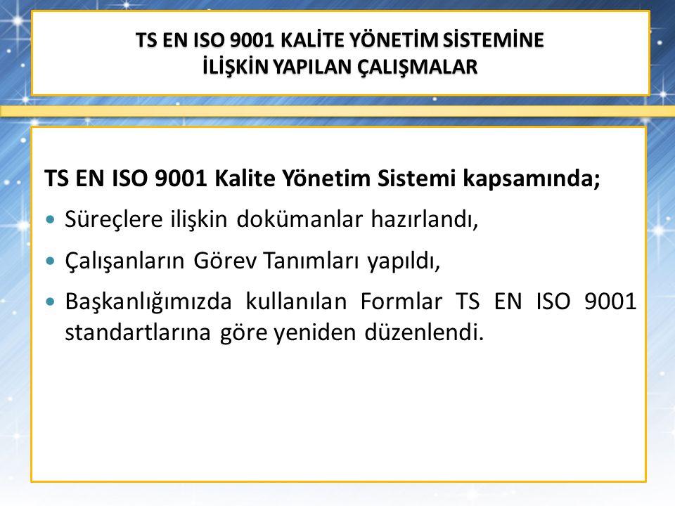 TS EN ISO 9001 KALİTE YÖNETİM SİSTEMİNE İLİŞKİN YAPILAN ÇALIŞMALAR