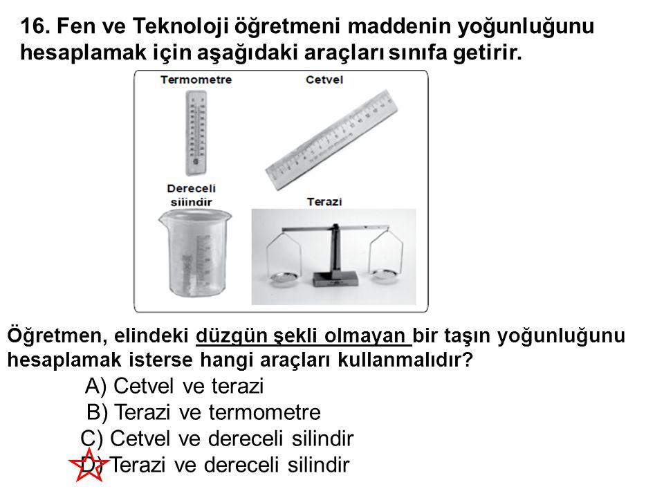 B) Terazi ve termometre C) Cetvel ve dereceli silindir