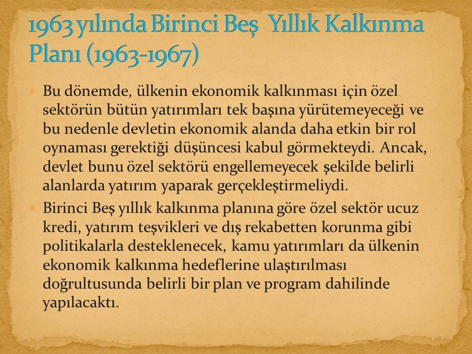 1963 yılında Birinci Beş Yıllık Kalkınma Planı (1963-1967)