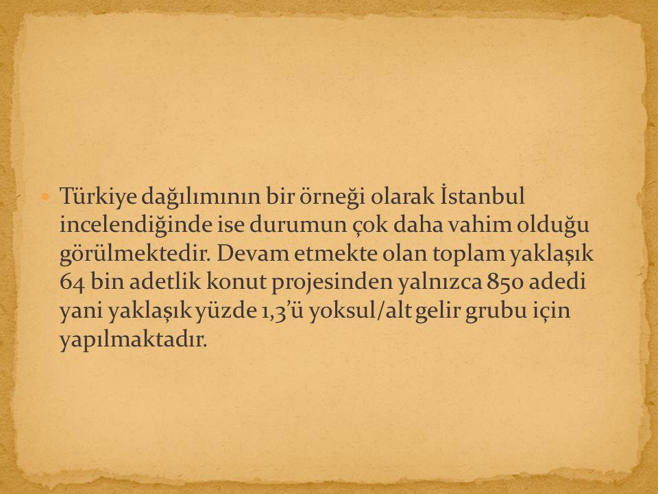 Türkiye dağılımının bir örneği olarak İstanbul incelendiğinde ise durumun çok daha vahim olduğu görülmektedir.