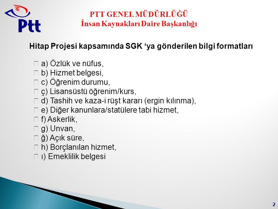 Hitap Projesi kapsamında SGK 'ya gönderilen bilgi formatları