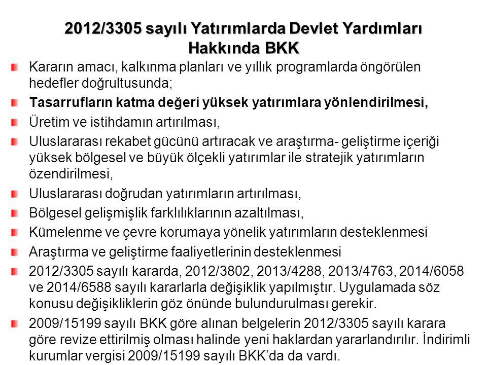 2012/3305 sayılı Yatırımlarda Devlet Yardımları Hakkında BKK