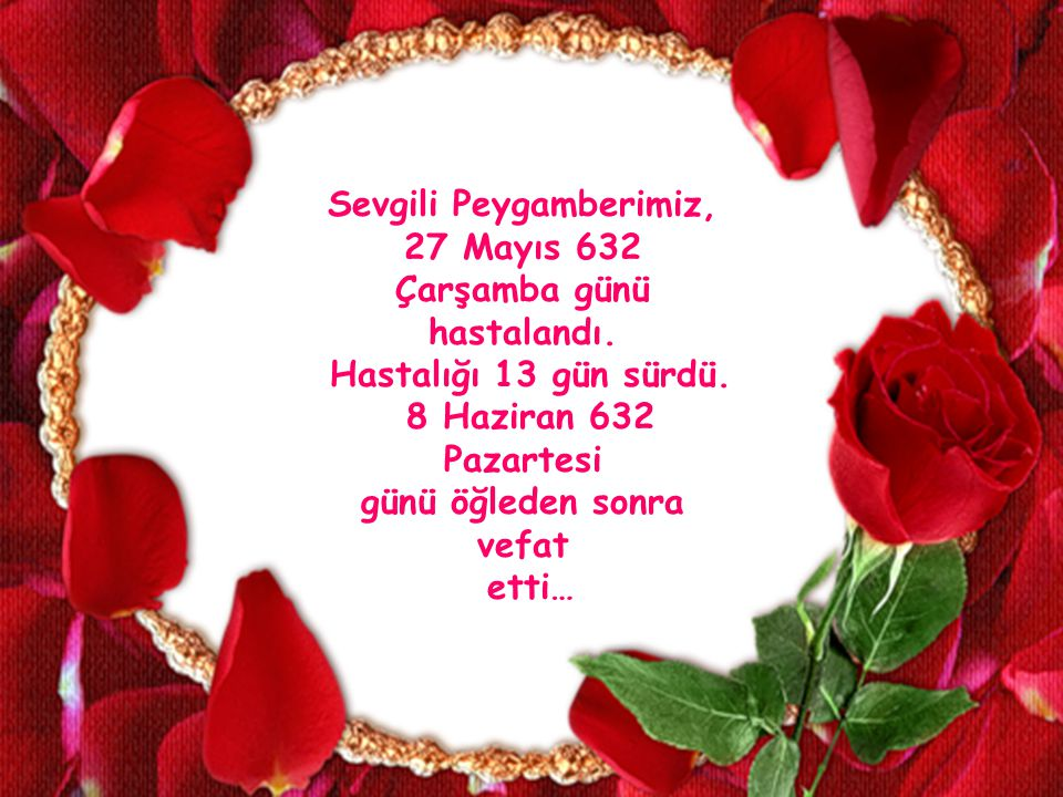 Sevgili Peygamberimiz, 27 Mayıs 632 Çarşamba günü hastalandı.