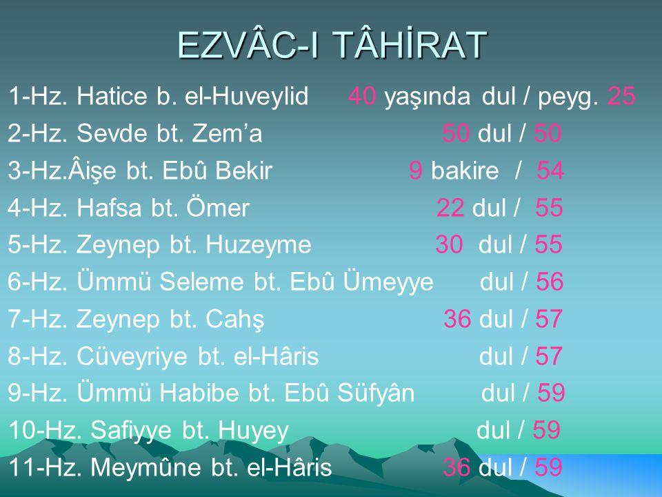 EZVÂC-I TÂHİRAT 1-Hz. Hatice b. el-Huveylid 40 yaşında dul / peyg. 25