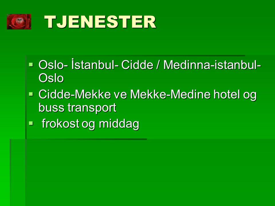 TJENESTER Oslo- İstanbul- Cidde / Medinna-istanbul-Oslo