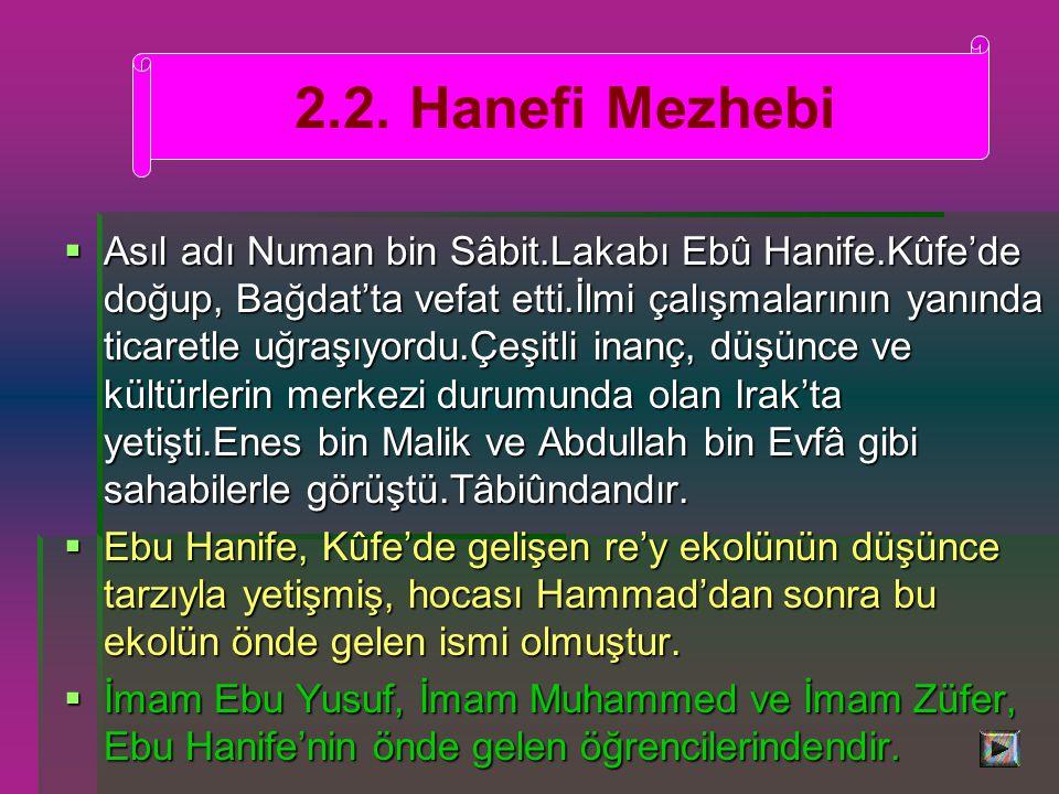 2.2. Hanefi Mezhebi