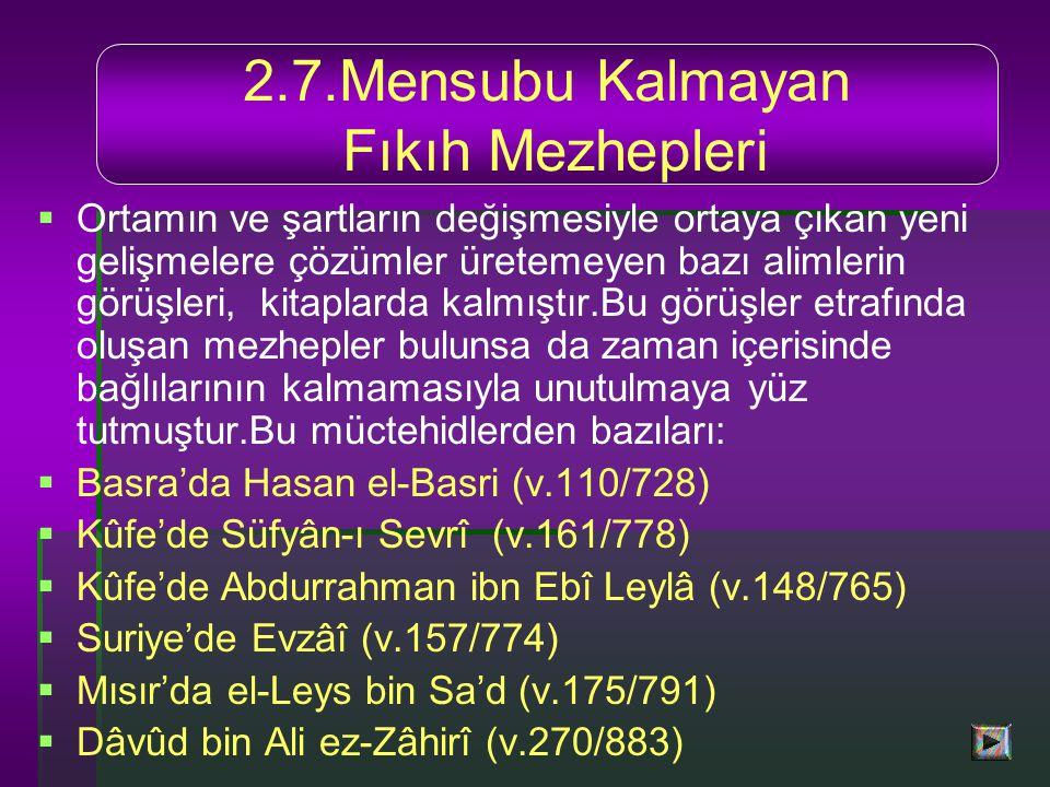 2.7.Mensubu Kalmayan Fıkıh Mezhepleri