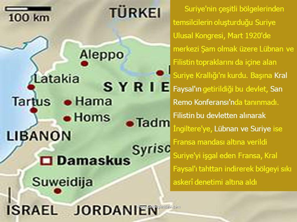 Suriye nin çeşitli bölgelerinden temsilcilerin oluşturduğu Suriye Ulusal Kongresi, Mart 1920 de merkezi Şam olmak üzere Lübnan ve Filistin topraklarını da içine alan Suriye Krallığı nı kurdu. Başına Kral Faysal ın getirildiği bu devlet, San Remo Konferansı nda tanınmadı. Filistin bu devletten alınarak