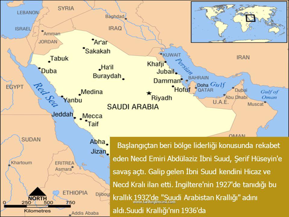 Başlangıçtan beri bölge liderliği konusunda rekabet eden Necd Emiri Abdülaziz İbni Suud, Şerif Hüseyin e savaş açtı. Galip gelen İbni Suud kendini Hicaz ve Necd Kralı ilan etti. İngiltere nin 1927 de tanıdığı bu krallık 1932 de Suudi Arabistan Krallığı adını aldı.Suudi Krallığı nın 1936 da