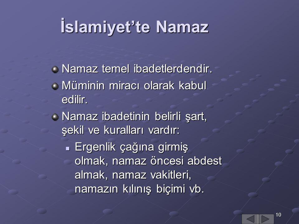 İslamiyet'te Namaz Namaz temel ibadetlerdendir.