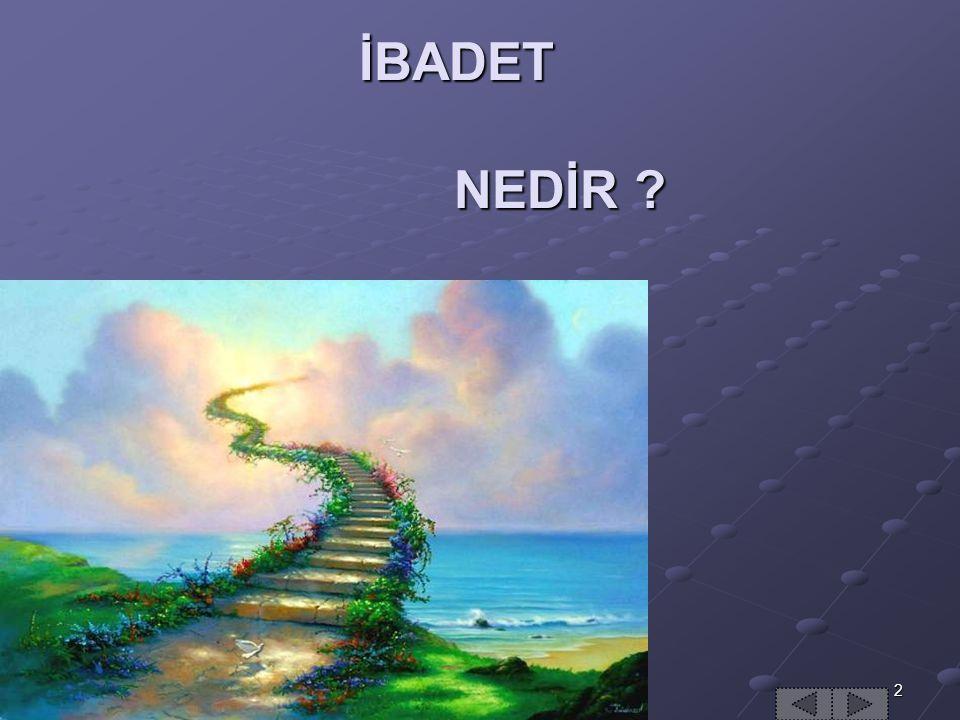İBADET NEDİR