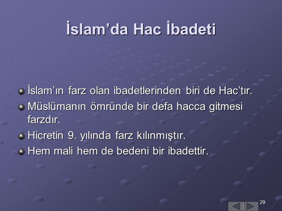 İslam'da Hac İbadeti İslam'ın farz olan ibadetlerinden biri de Hac'tır. Müslümanın ömründe bir defa hacca gitmesi farzdır.