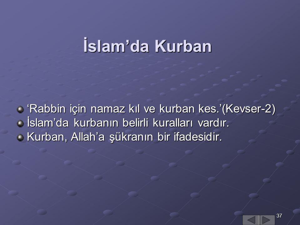 İslam'da Kurban 'Rabbin için namaz kıl ve kurban kes.'(Kevser-2)