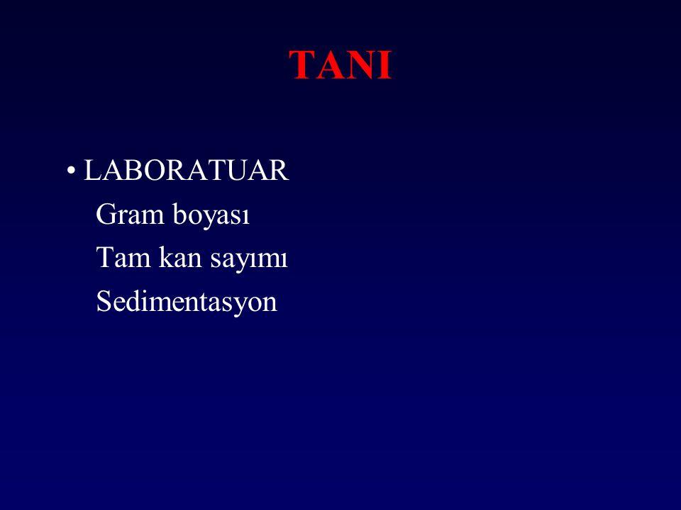 TANI • LABORATUAR Gram boyası Tam kan sayımı Sedimentasyon