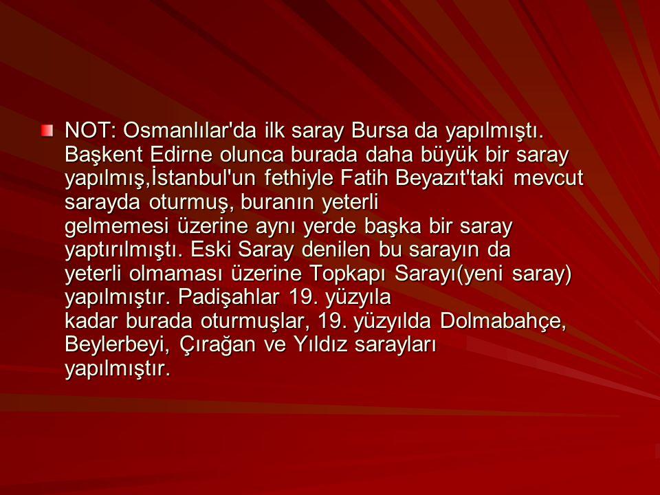 NOT: Osmanlılar da ilk saray Bursa da yapılmıştı