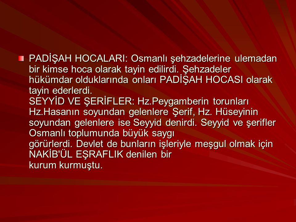 PADİŞAH HOCALARI: Osmanlı şehzadelerine ulemadan bir kimse hoca olarak tayin edilirdi.