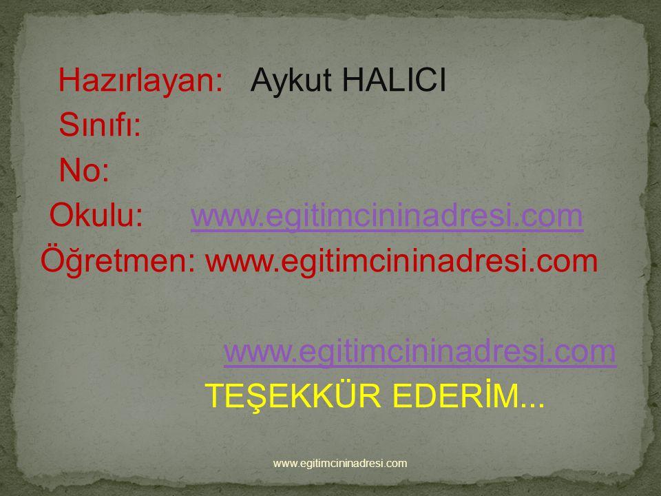 Okulu: www.egitimcininadresi.com Öğretmen: www.egitimcininadresi.com