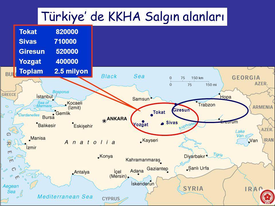 Türkiye' de KKHA Salgın alanları