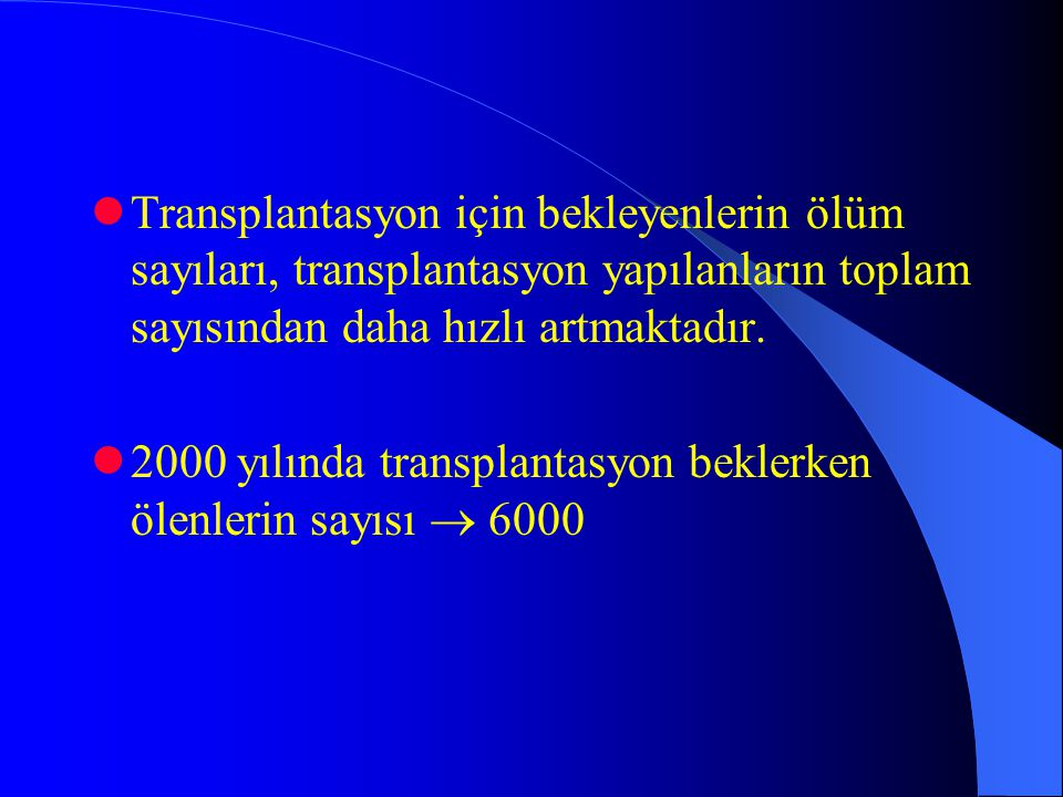 Transplantasyon için bekleyenlerin ölüm sayıları, transplantasyon yapılanların toplam sayısından daha hızlı artmaktadır.