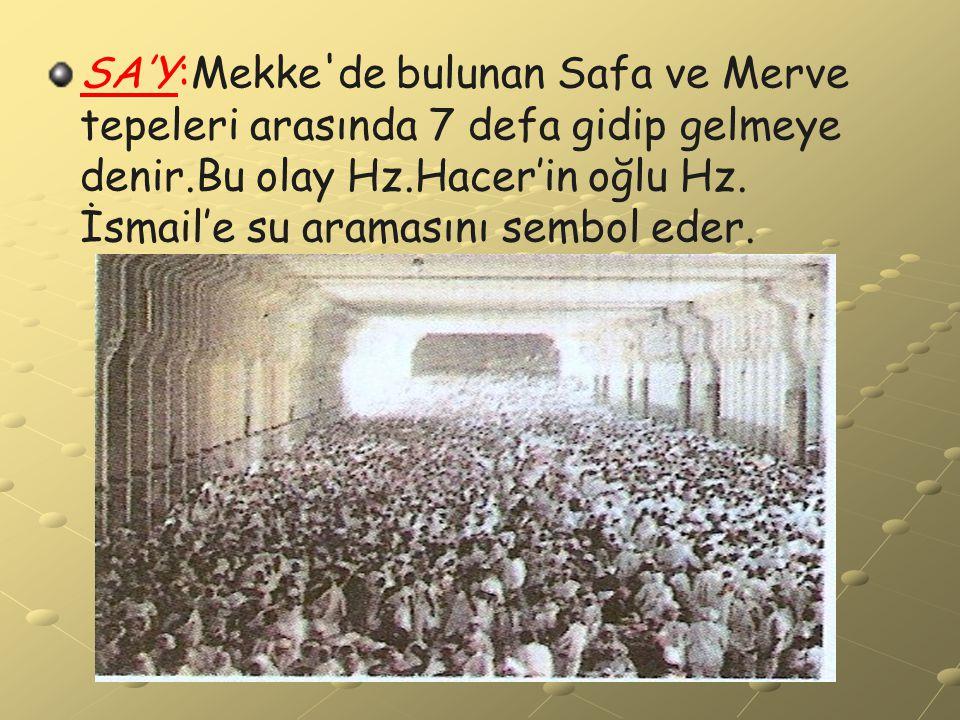 SA'Y:Mekke de bulunan Safa ve Merve tepeleri arasında 7 defa gidip gelmeye denir.Bu olay Hz.Hacer'in oğlu Hz.