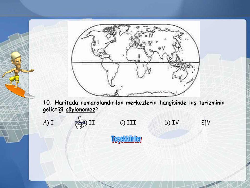 10. Haritada numaralandırılan merkezlerin hangisinde kış turizminin
