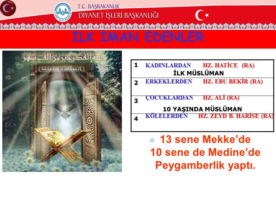 13 sene Mekke'de 10 sene de Medine'de Peygamberlik yaptı.