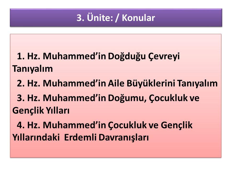 3. Ünite: / Konular 1. Hz. Muhammed'in Doğduğu Çevreyi Tanıyalım. 2. Hz. Muhammed'in Aile Büyüklerini Tanıyalım.