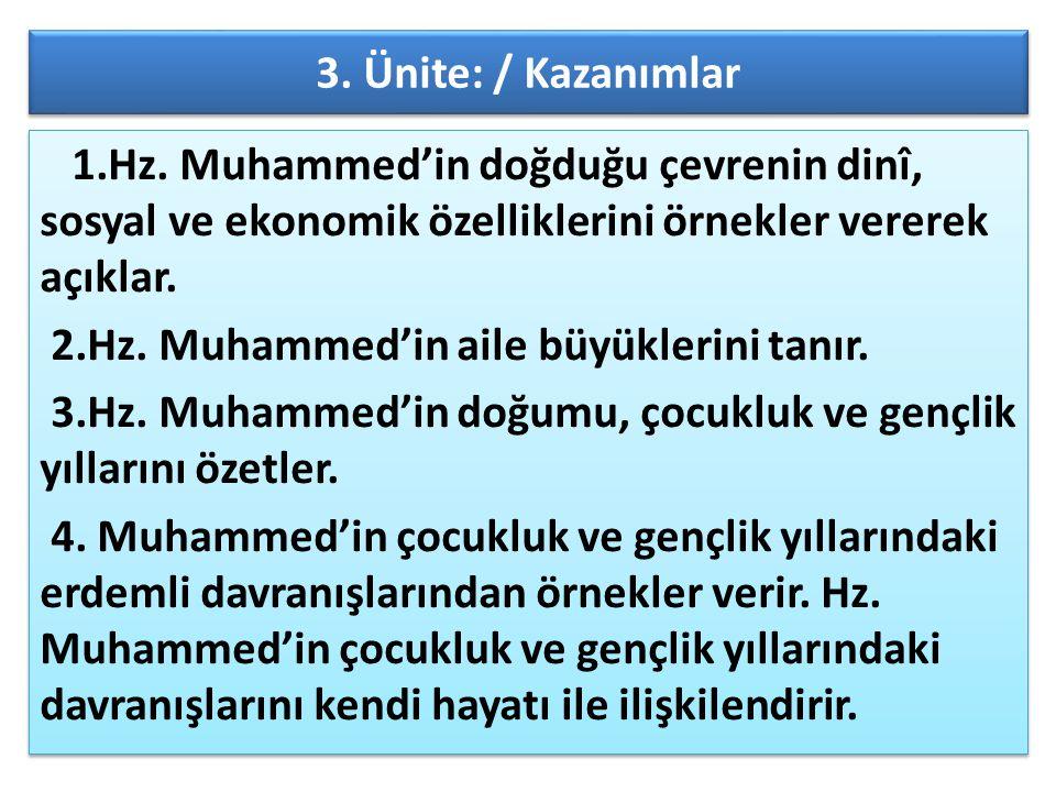 3. Ünite: / Kazanımlar 1.Hz. Muhammed'in doğduğu çevrenin dinî, sosyal ve ekonomik özelliklerini örnekler vererek açıklar.